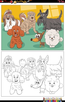 Dibujos animados de personajes de perros de raza pura página de libro para colorear