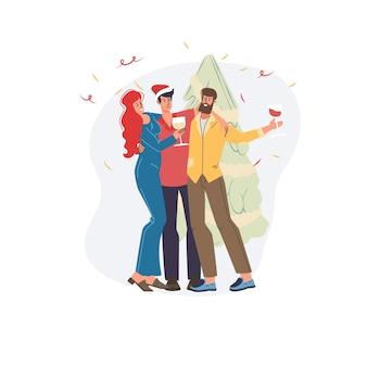 Dibujos animados personajes planos amigos abrazos felices