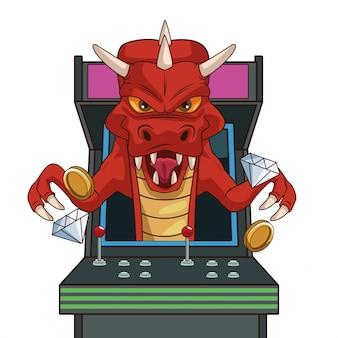 Dibujos animados de personajes de videojuego de dragón en arcade