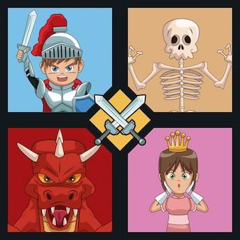 Dibujos animados de personajes de videojuegos