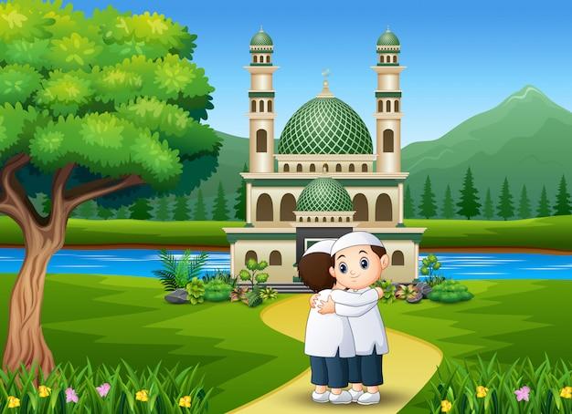 Dibujos animados de personas abrazando y deseando a eid mubarak