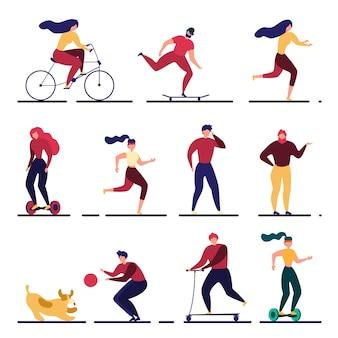 Dibujos animados de personas activas plana al aire libre ilustración