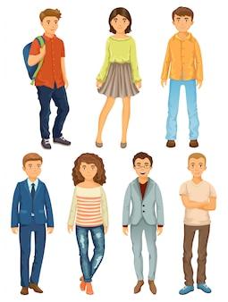 Dibujos animados de personas de diferentes profesiones.