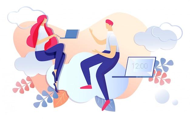 Dibujos animados personas discutiendo la gestión del tiempo de trabajo