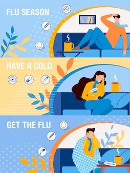 Dibujos animados de personas enfermas en conjunto de página web de encabezado banner