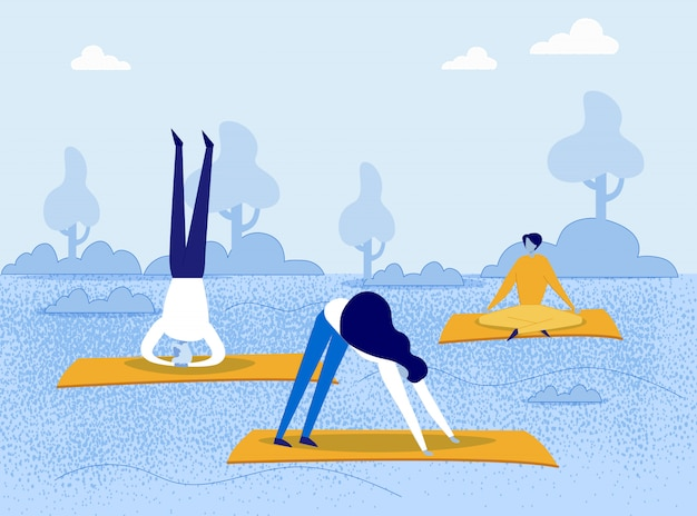 Dibujos animados de personas haciendo asanas de yoga en el parque natural