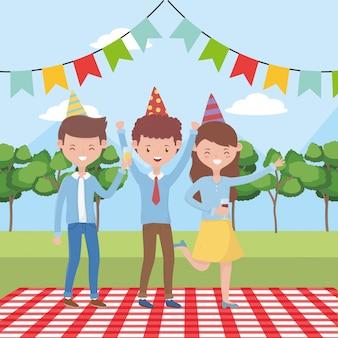 Dibujos animados de personas haciendo picnic