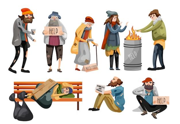 Dibujos animados de personas sin hogar. desempleados