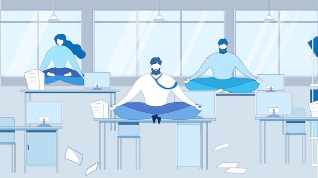Dibujos animados de personas meditando sentarse en la mesa en el lugar de trabajo de oficina