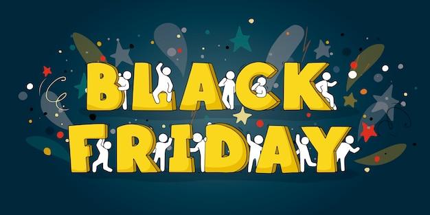 Dibujos animados de personas pequeñas con grandes palabras black friday. ilustración dibujada a mano