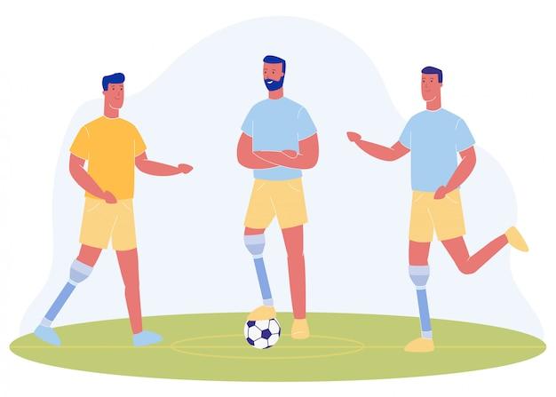 Dibujos animados personas con pierna protésica jugar al fútbol