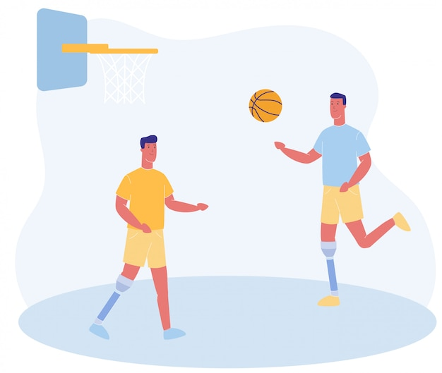 Dibujos animados de personas con pierna protésica jugar baloncesto
