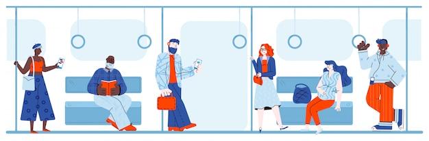 Dibujos animados de personas que viajan en el metro usando tecnología moderna y libro de lectura.