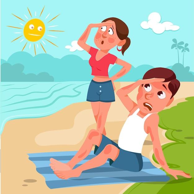 Dibujos animados de personas quemadas por el sol