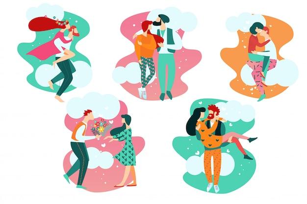 Dibujos animados de personas en las relaciones de amor romántico