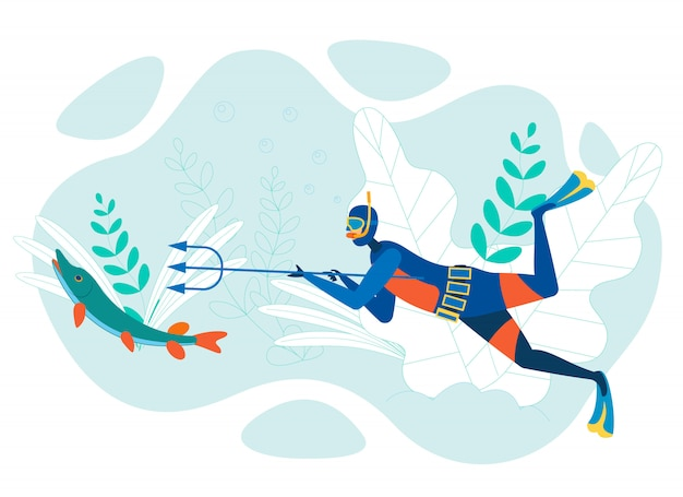 Dibujos animados de pesca submarina