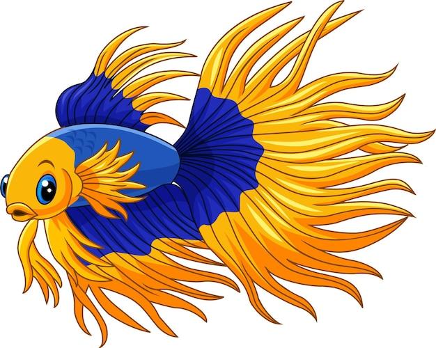 Dibujos animados de pez luchador siamés dorado y azul