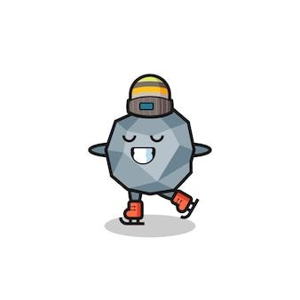 Dibujos animados de piedra como un jugador de patinaje sobre hielo haciendo un diseño de estilo lindo para camiseta, pegatina, elemento de logotipo