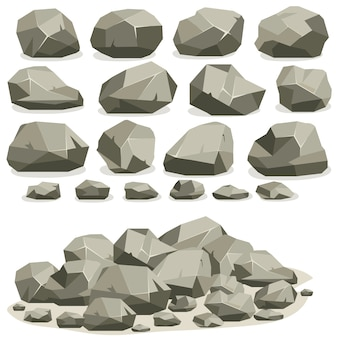 Dibujos animados de piedra de roca en estilo plano isométrico. conjunto de diferentes cantos rodados. pila de piedras naturales.