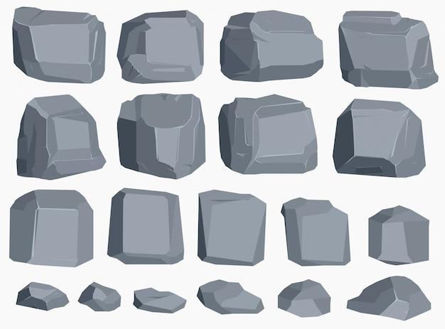 Dibujos animados de piedra de roca en estilo plano