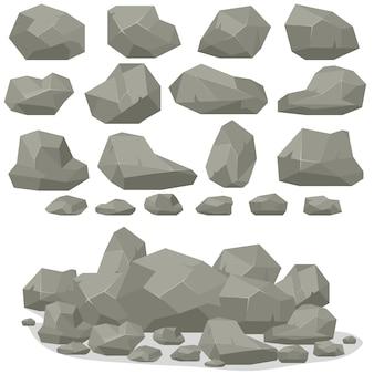 Dibujos animados de piedra de roca en isométrica.