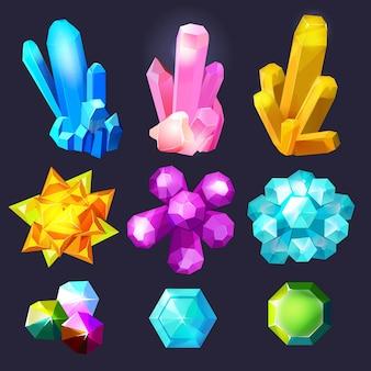 Dibujos animados de piedras preciosas de cristal. joyas piedras gema cuarzo amatista joyas