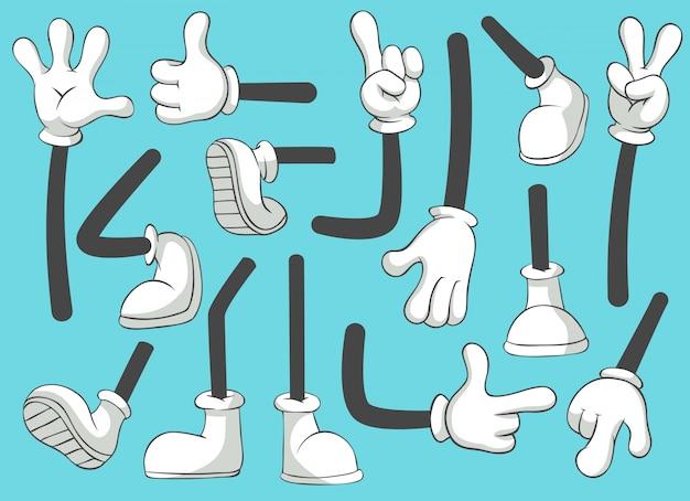 Dibujos animados de piernas y manos. pierna en botas y mano enguantada, pies cómicos en zapatos. conjunto aislado de guante