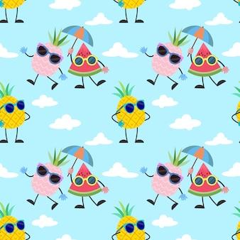 Dibujos animados de piña y sandía con patrón de gafas de sol.