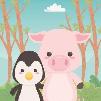 Dibujos animados de pingüinos y cerdos
