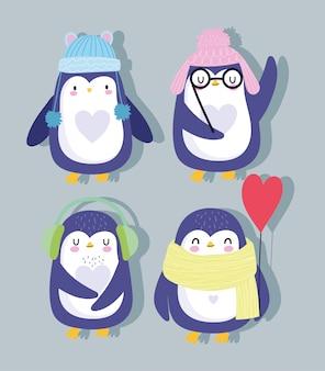 Dibujos animados de pingüinos con sombreros, bufanda y globo en forma de corazón