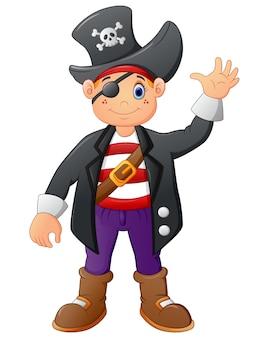 Dibujos animados pirata agitando