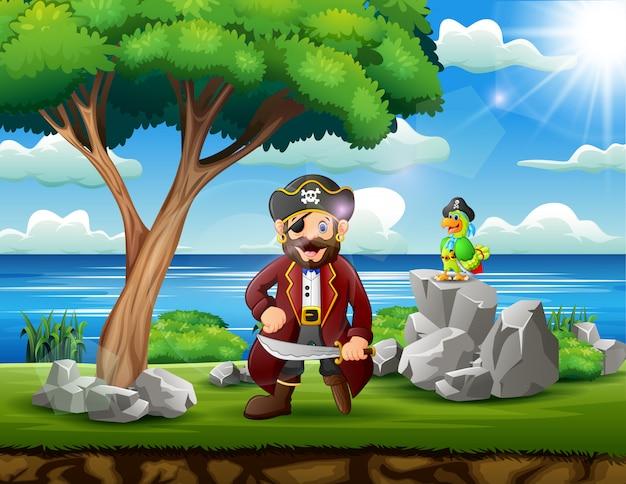 Dibujos animados de un pirata con su loro en la naturaleza