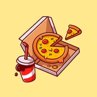 Dibujos animados de pizza y cola