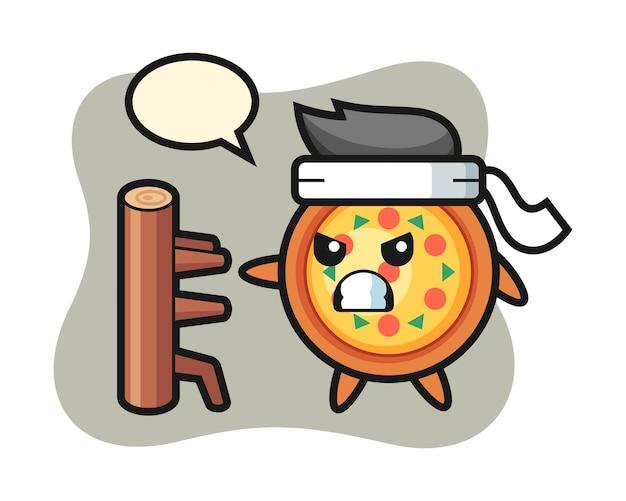Dibujos animados de pizza como un luchador de karate