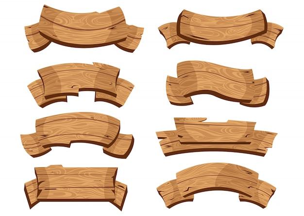 Dibujos animados de placa de madera marrón y cintas. conjunto