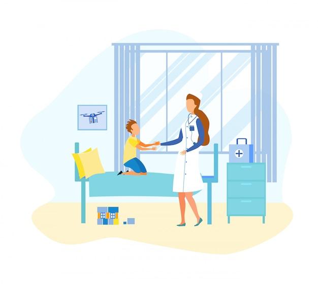 Dibujos animados plana doctor visita niño en sala de hospital
