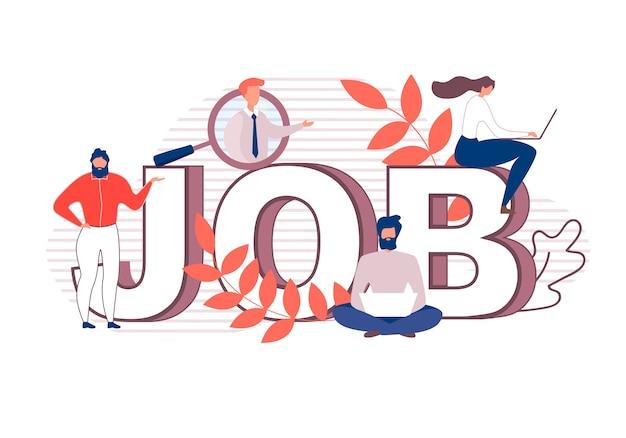 Dibujos animados plana enormes letras haciendo word job banner