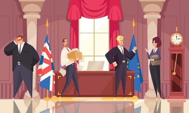 Dibujos animados plana interior del lugar de trabajo presidencial con personas que trabajan