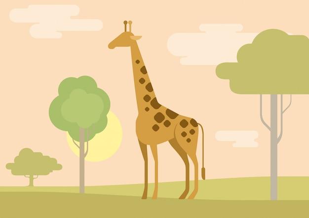 Dibujos animados plana jirafa sabana