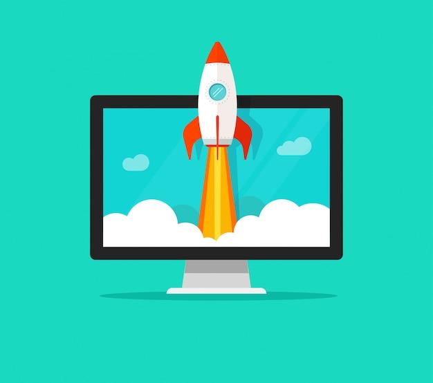Dibujos animados plana lanzamiento rápido cohete o inicio y computadora o escritorio pc vector ilustración