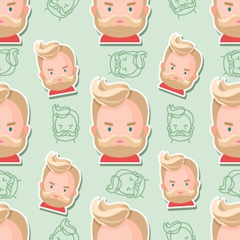 Dibujos animados plana de patrones sin fisuras hipster personaje