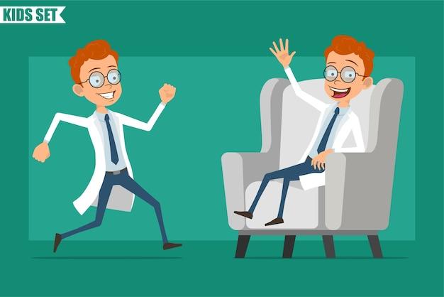 Dibujos animados plana pelirroja pequeño doctor o personaje de niño científico en uniforme. listo para la animación. niño corriendo, mostrando el gesto de hola y descansando en el sofá. aislado