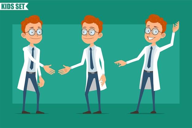 Dibujos animados plana pelirroja pequeño doctor o personaje de niño científico en uniforme. listo para la animación. niño mostrando gesto de hola y estrechándole la mano a un amigo. aislado
