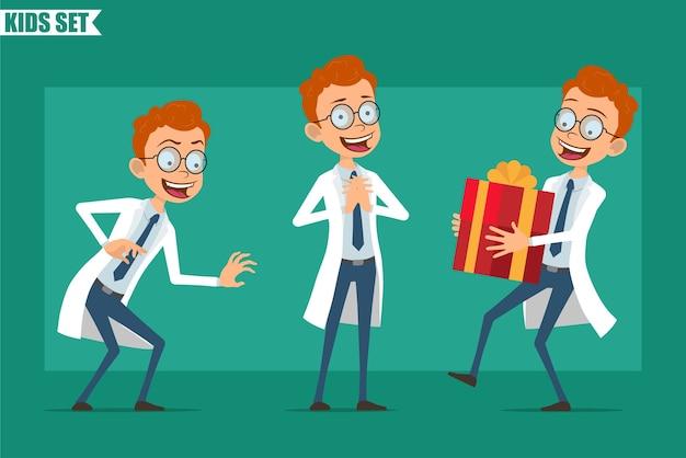 Dibujos animados plana pelirroja pequeño doctor o personaje de niño científico en uniforme. listo para la animación. .