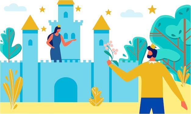 Dibujos animados plana príncipe y princesa para el cuento de hadas