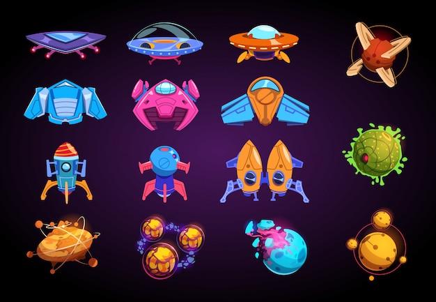 Dibujos animados de planetas y naves espaciales. fantásticos cohetes ovni y planetas futuristas orientados. kit de juego de guerra espacial
