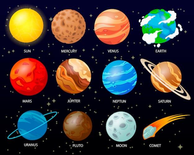 Dibujos animados de planetas del sistema solar