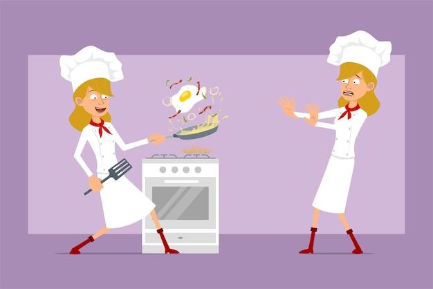 Dibujos animados plano divertido chef cocinero personaje de mujer en uniforme blanco y sombrero de panadero. chica asustada y cocinando huevos revueltos fritos con tocino.