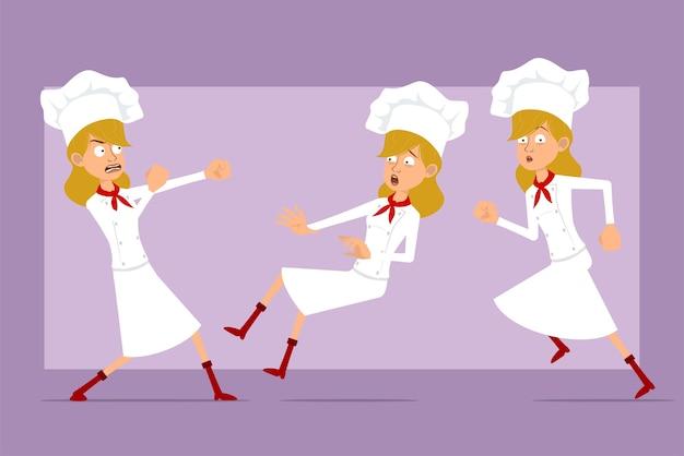 Dibujos animados plano divertido chef cocinero personaje de mujer en uniforme blanco y sombrero de panadero. chica corriendo, peleando y cayendo.