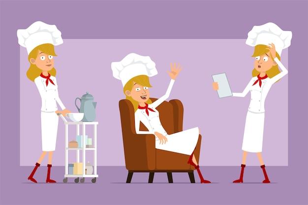 Dibujos animados plano divertido chef cocinero personaje de mujer en uniforme blanco y sombrero de panadero. chica descansando en el sofá y caminando con mesa de café.
